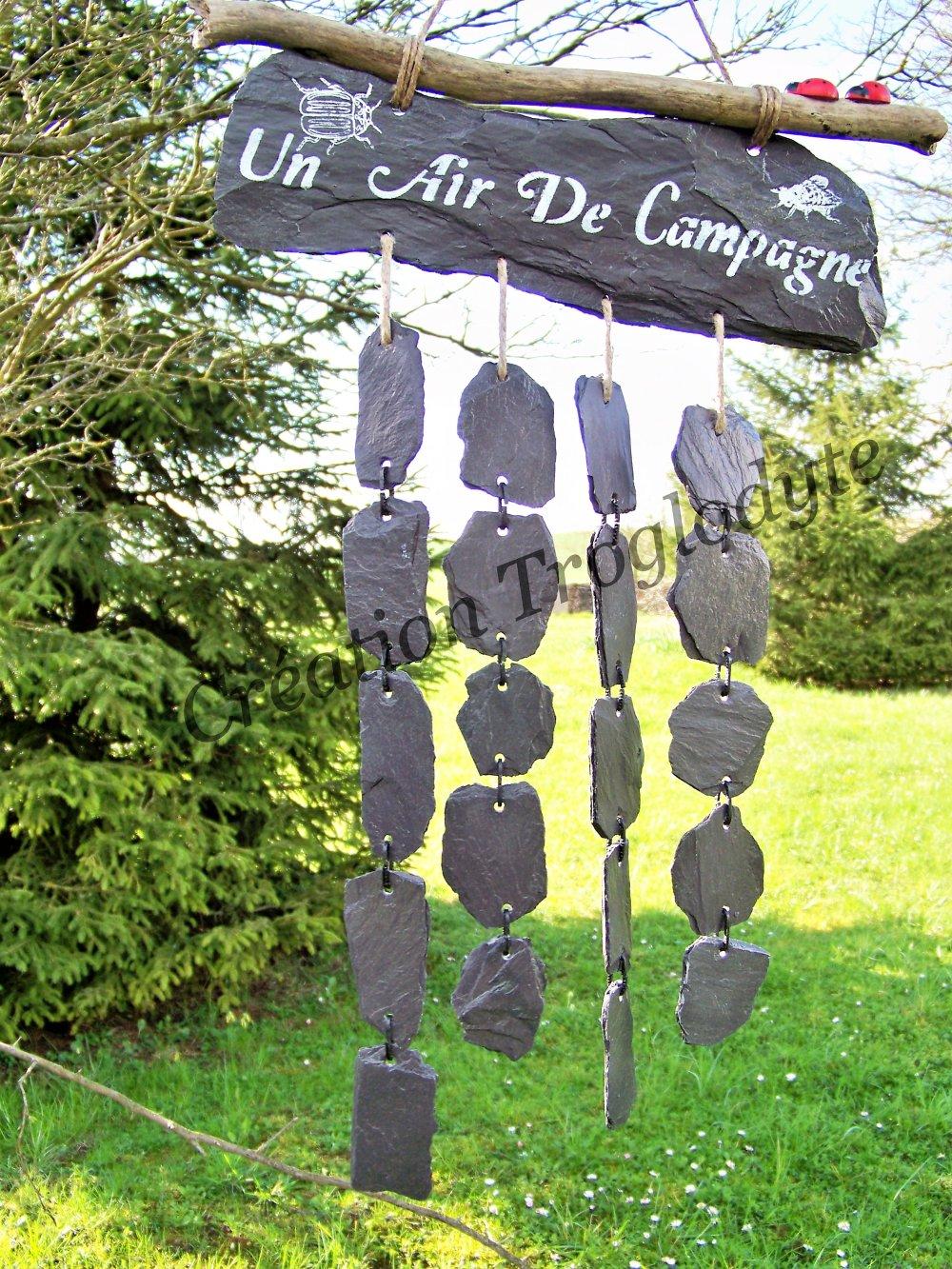 Carillon de jardin en ardoise,mobile de jardin,attrape vent,ardoise  décorative,aménagement extérieur,création troglodyt