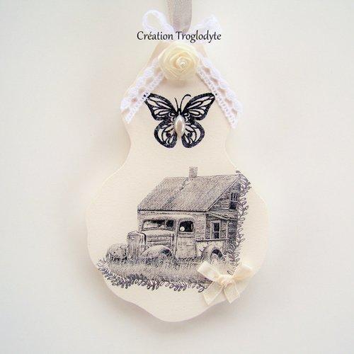 Poule déco blanc rose blanc shabby-chic-Look Cottage