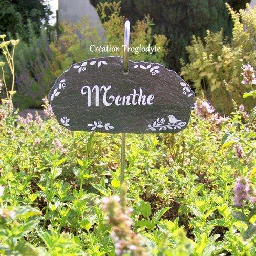 Étiquette de jardin en ardoise + tuteur en fer forgé pour plantes aromatiques, potagères, arbustes...vendues à l'unité,création trog