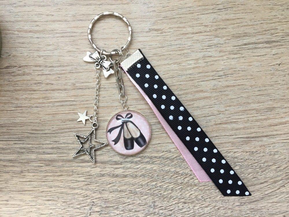 Porte-clés  cabochon thème «ballerine»