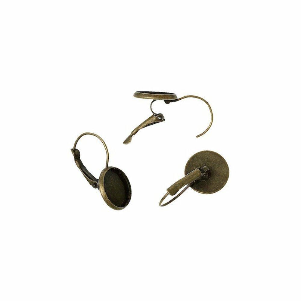 20 supports Boucles d'oreille dormeuse bronze pour cabochon 12 mm