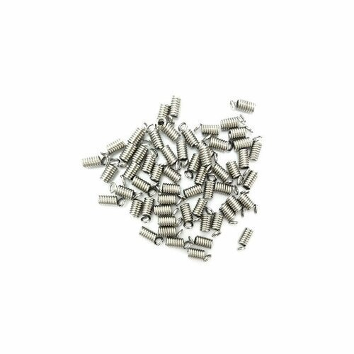 60 EMBOUTS SERRE FIL RESSORT METAL ARGENTE 10 X4 mm CREATION BIJOUX