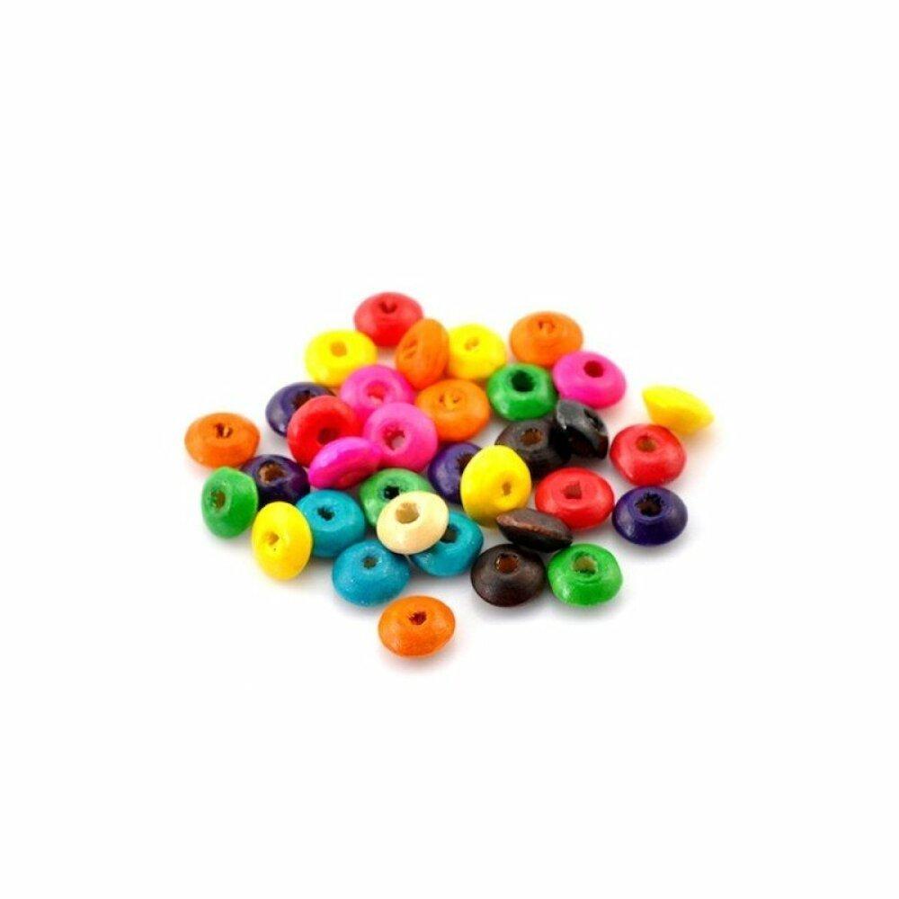 1000 Mixte Bijoux Perles intercalaires en Bois rondelle 8 x 4 mm Fournitures créatives pour Fabrication de bijoux