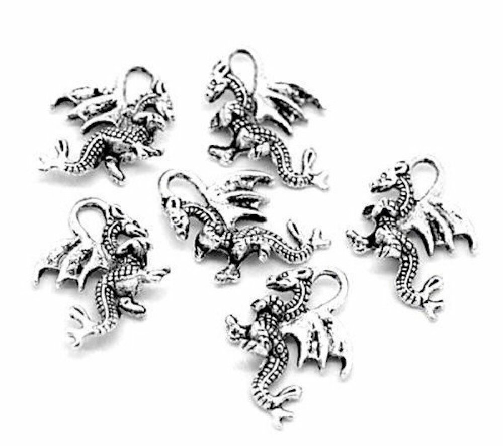 50 Breloques dragon couleur argenté