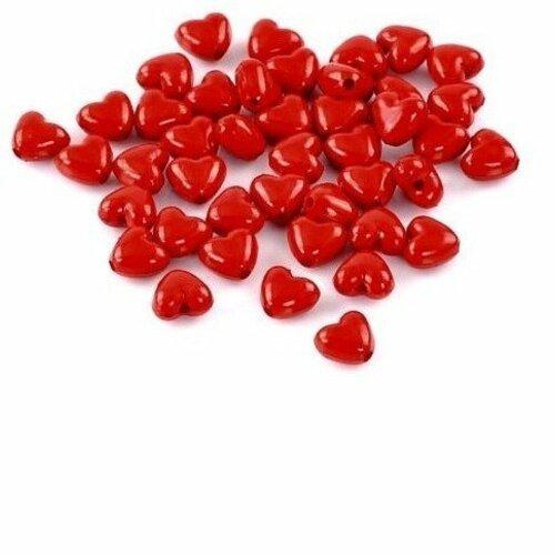 50 perles intercalaire acrylique cœur rouge glamour