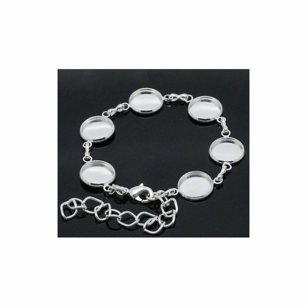 Bracelet supports cabochon couleur Plaqué argent 18.0cm Long