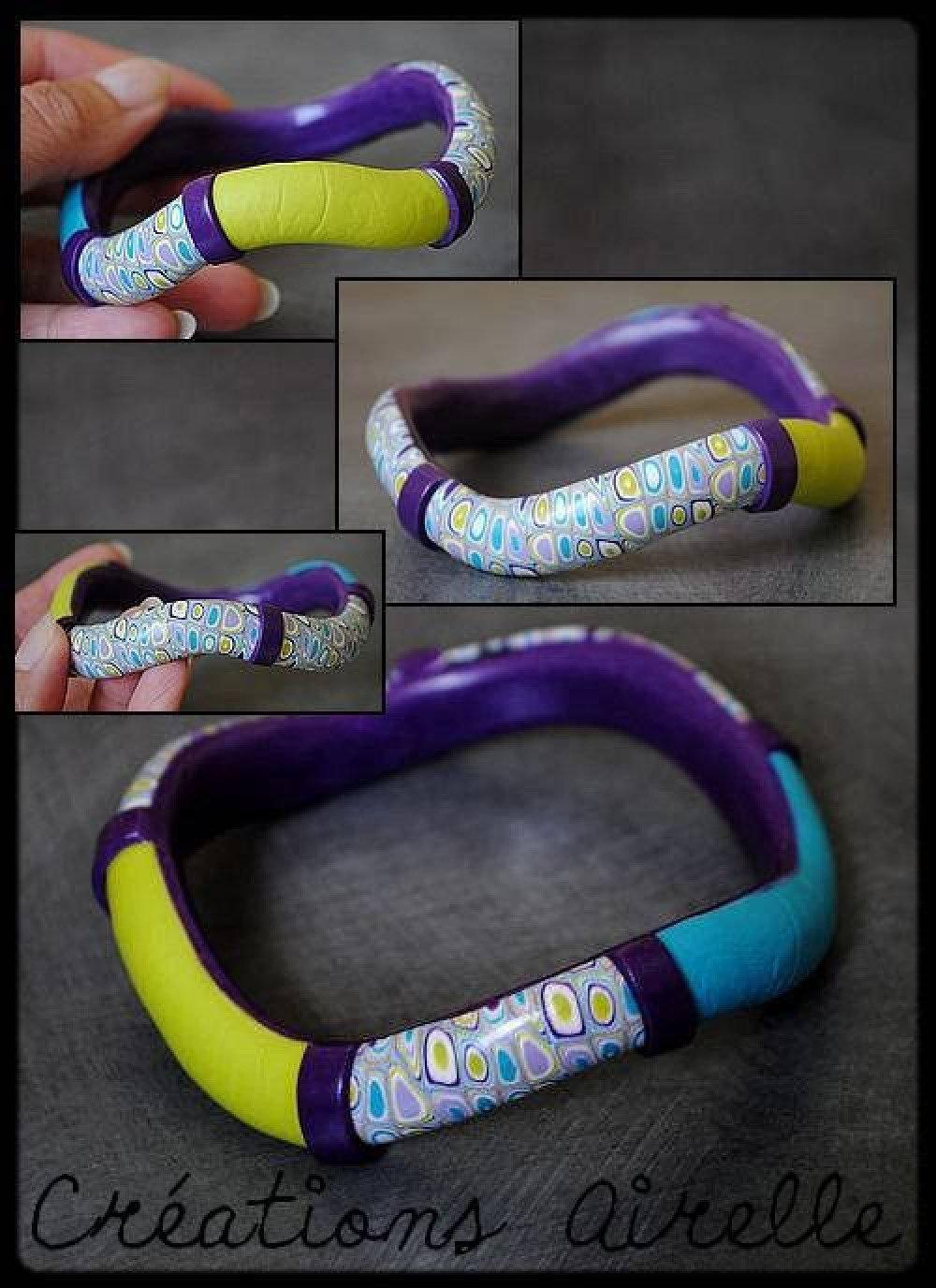 Bracelet vague violet, parme, bleu turquoise et vert anis en polymère