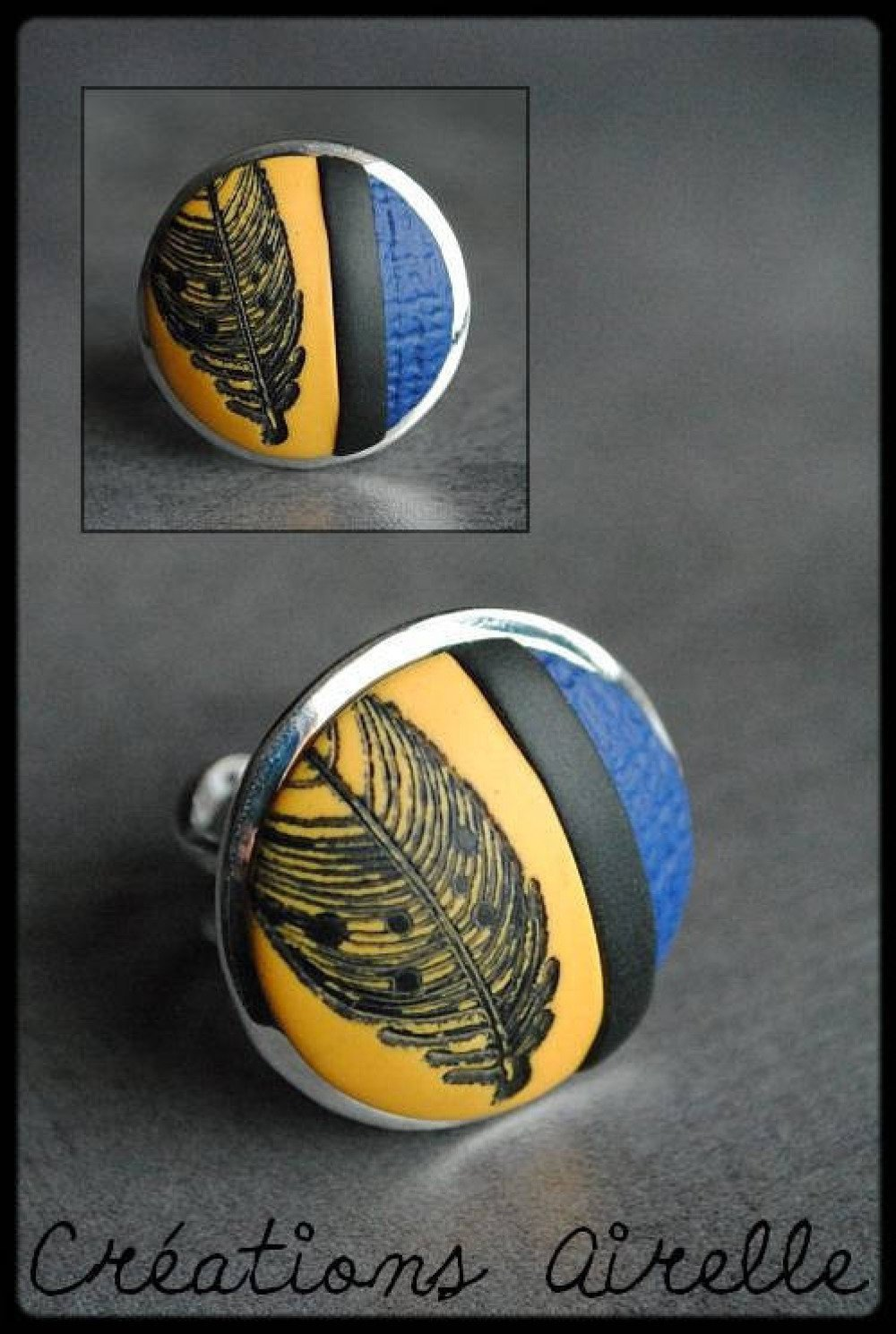 Bague ronde jaune / bleu motif plume en polymère