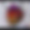 Pendentif en polymère parme taupe à motifs multicolores