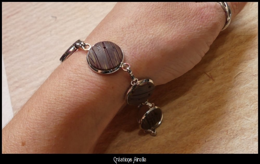 Bracelet en polymère effet bois