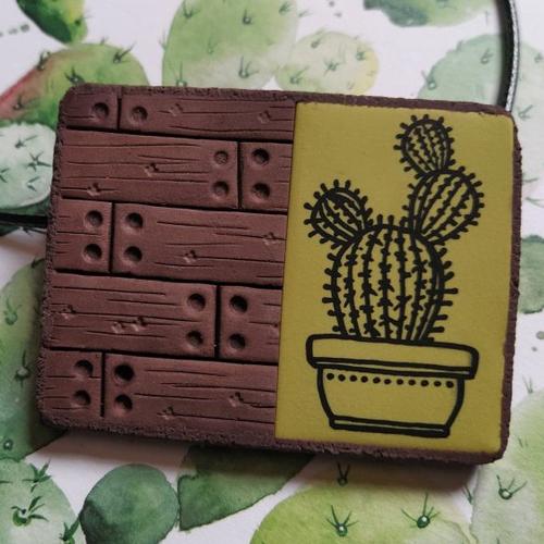 Pendentif en polymère marron vert anis motifs cactus