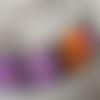 Collier en polymère, noir violet parme orange à motifs