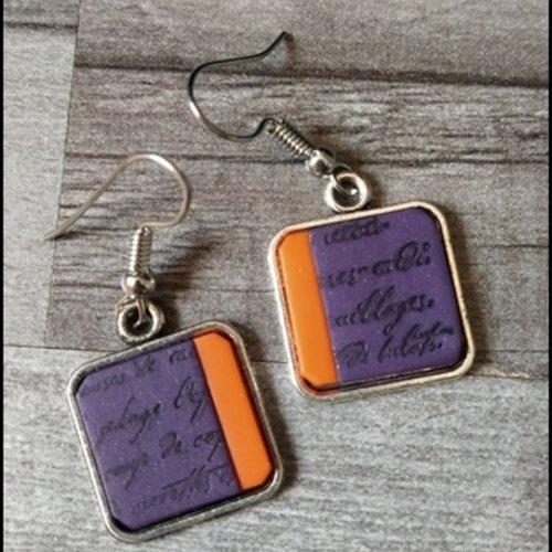 Boucles d'oreilles en polymère violet orange