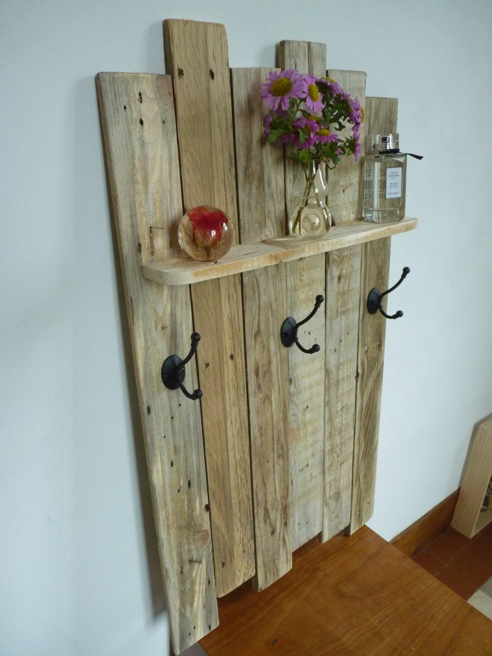 porte manteaux bois de palettes recyclés