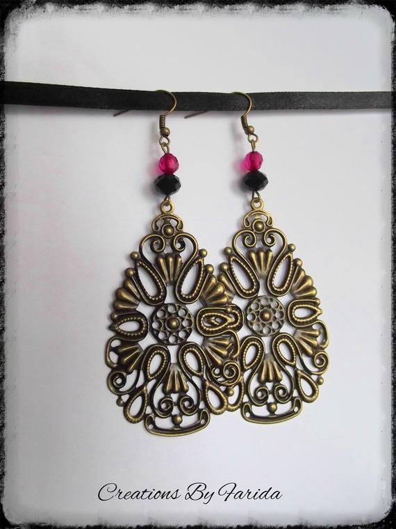 Boucles d'oreilles filigrane couleur bronze en forme de goutte