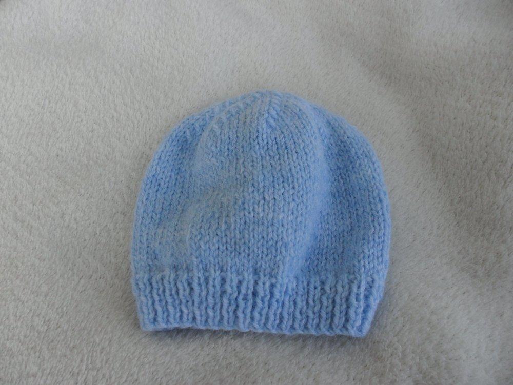 Bonnet bébé tricoter main o/3 mois couleur bleu ciel