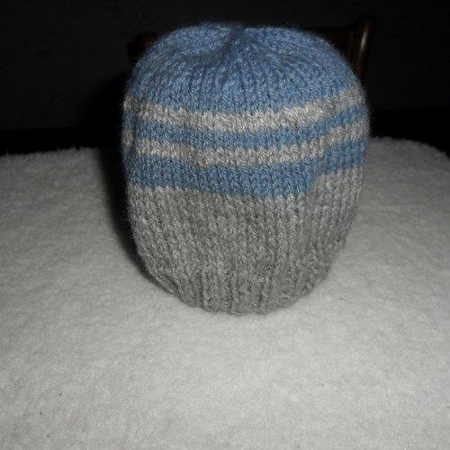 Bonnet bébé tricoter main 9/12 mois gris et gris bleuté