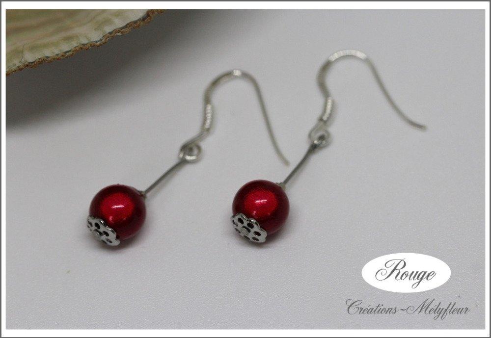 Boucles en argent et  perles rouges