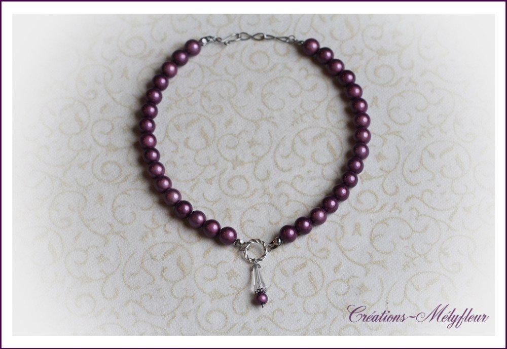 Collier  perles mauves
