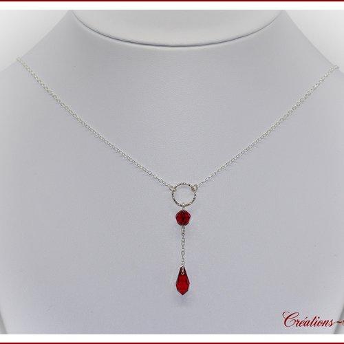 Collier argent et swarovski rouge