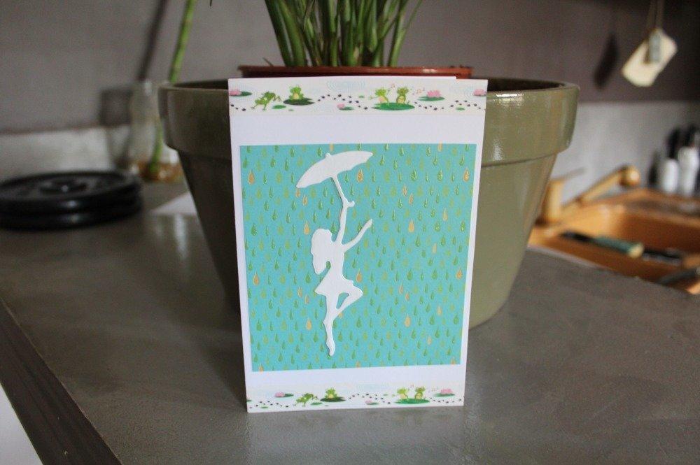 1273 - Carte pour toutes occasions thème pluie, danseuse