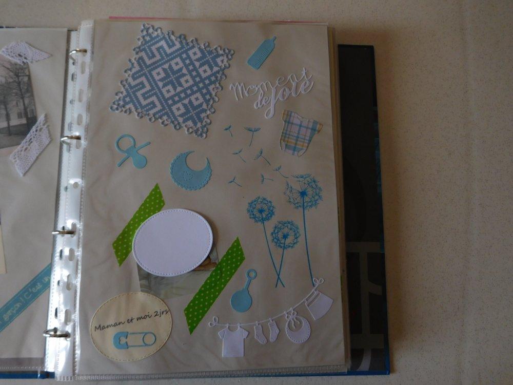 291 - Naissance : Découpe papier - die cut : bodys naissance motif à coeurs coloris bleu