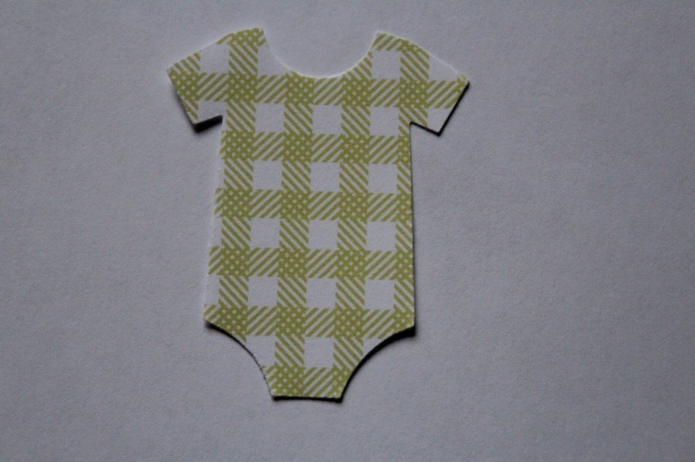 288 - Naissance : Découpe papier - die cut : bodys naissance motif à carreaux coloris vert