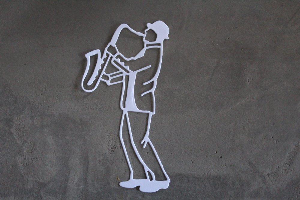 839 - Découpe papier saxophoniste coloris blanc