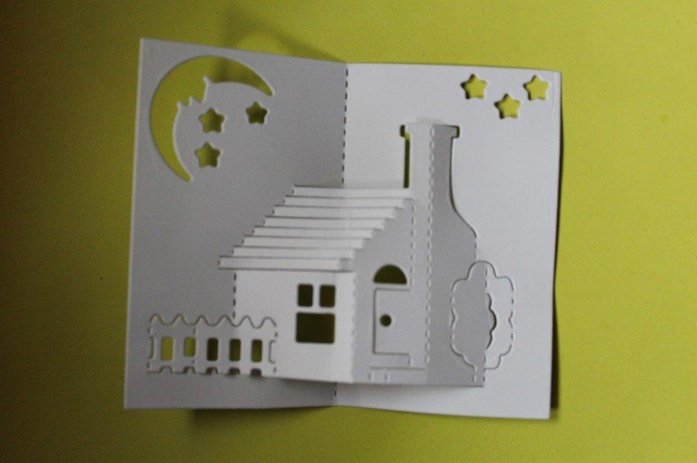 347 - Découpe papier paysage maison 3D coloris blanc - embellissement die cut pour scrapbooking