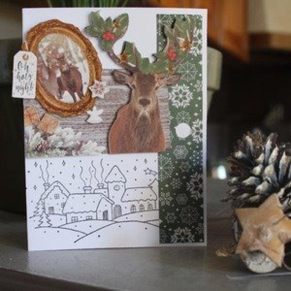 N/P 815 - Carte double de voeux/ noël thème cerfs / hiver