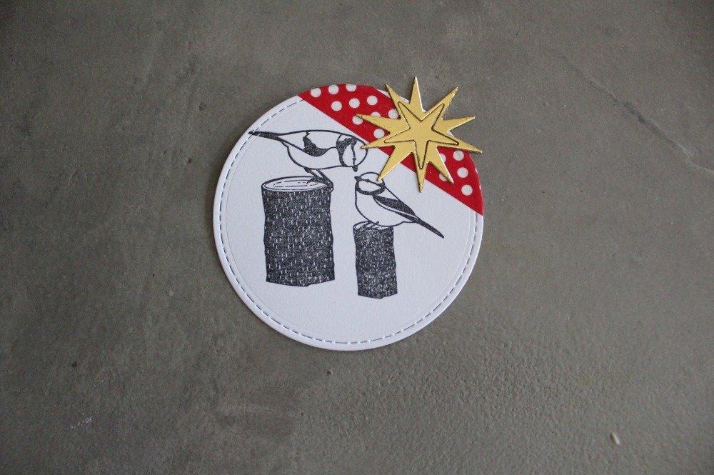 1716 : NOEL Embellissement thème oiseaux sur tronc étoile pour scrapbooking, décoration