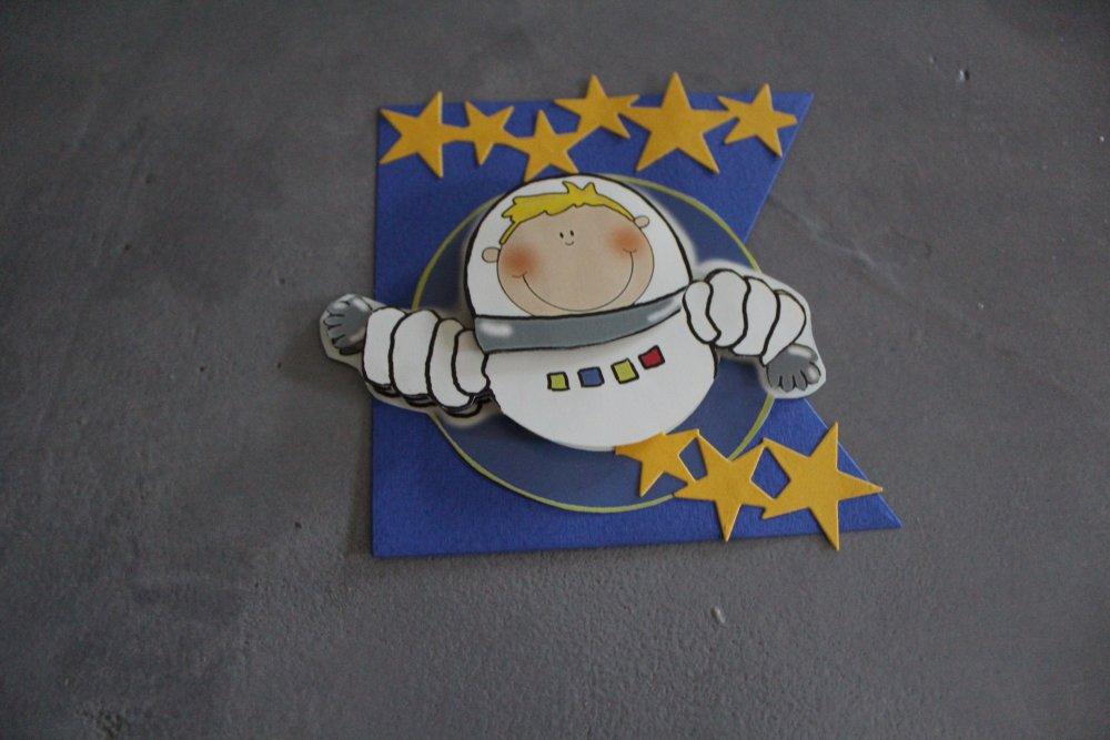 1437 - Embellissement thème personnage garçon espace/cosmonaute pour scrapbooking, carterie