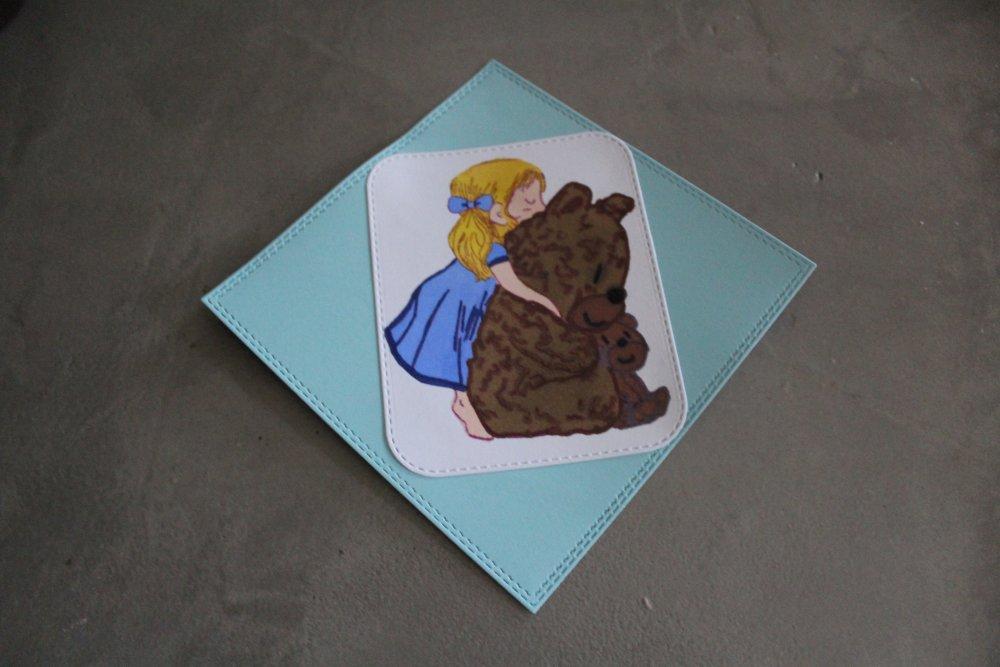 1502 - Embellissement personnage fille avec ourson thème naissance, anniversaire  pour scrapbooking, carterie
