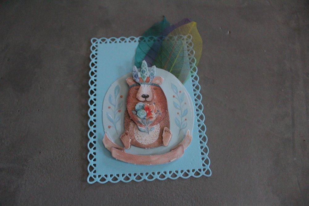 1483 : Embellissement thème ours, plume indien, enfant pour scrapbooking, décoration