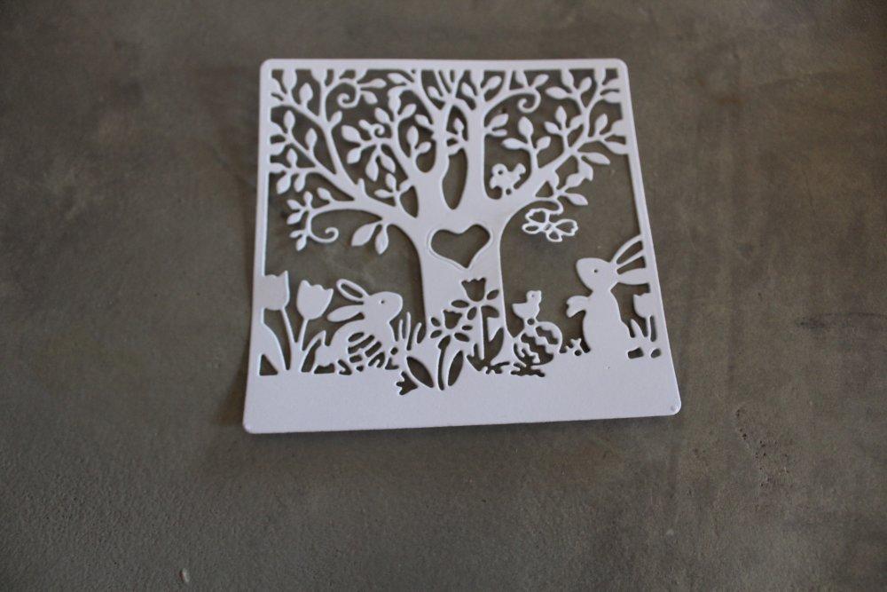 1512 Pâques, nature- Découpe papier embellissement arbres, lapins, pâques pour scrapbooking, décoration