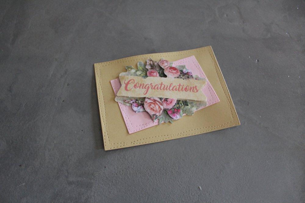 1809 : Embellissement thème félicitations avec fleurs 3D pour scrapbooking, décoration