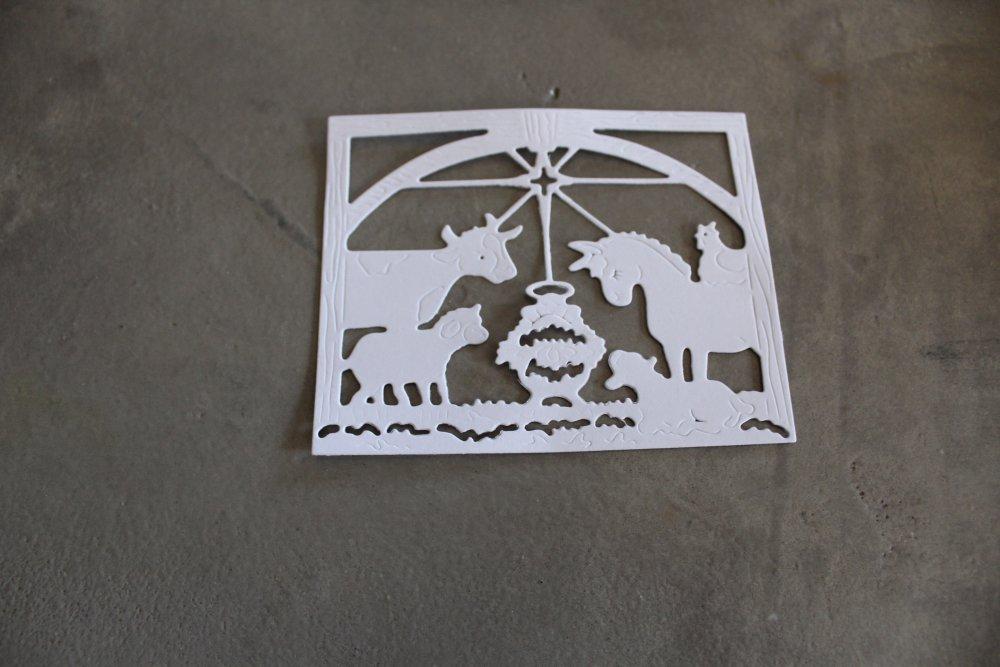 1856 - NOEL Découpe papier crèche coloris blanc pour scrapbooking
