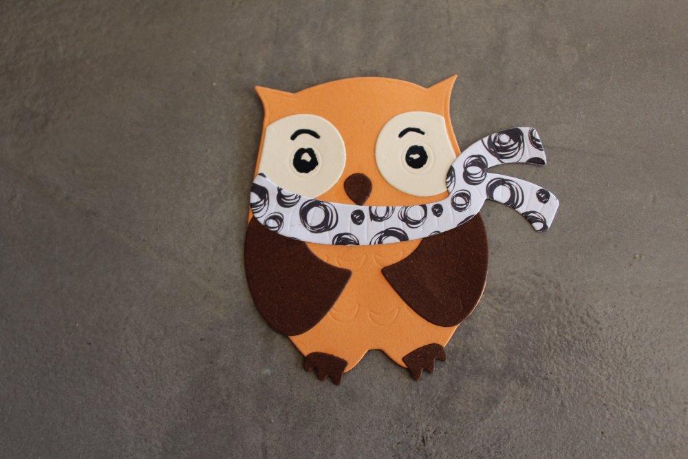 N/P 679 -  Découpe papier animaux hiboux fait main