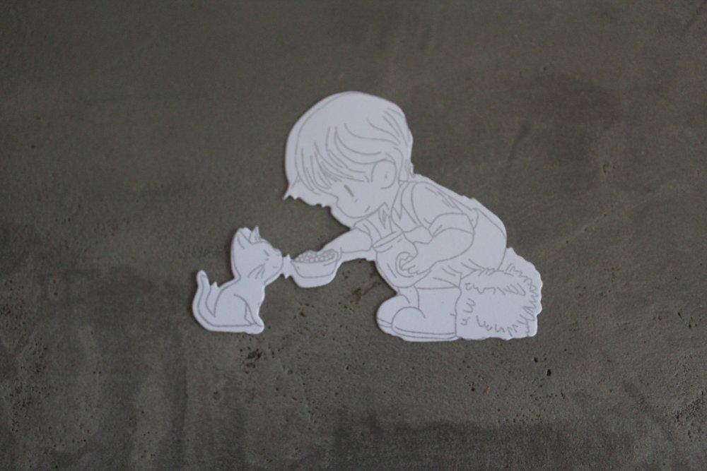 N/P 641 - Découpe papier tamponnage scrapbooking garçon avec chat thème enfance/ferme/anniversaire