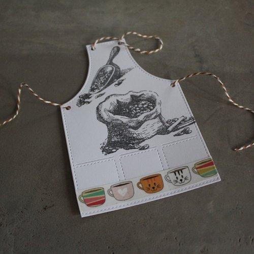 N/p 1311 -découpe papier tablier de cuisine / embellissement / scrapbooking thème café / invitation