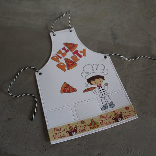 N/p 1328- découpe papier tablier de cuisine embellissement /scrapbooking thème pizzas / invitation