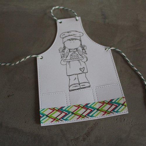N/p 1340 -découpe papier tablier de cuisine / embellissement / scrapbooking / invitation