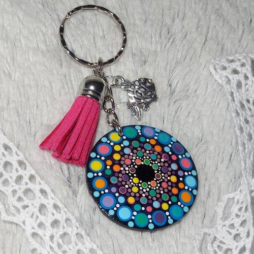 Porte clé rond 4cm + attache, décor mandala bleu, rose et breloque poisson