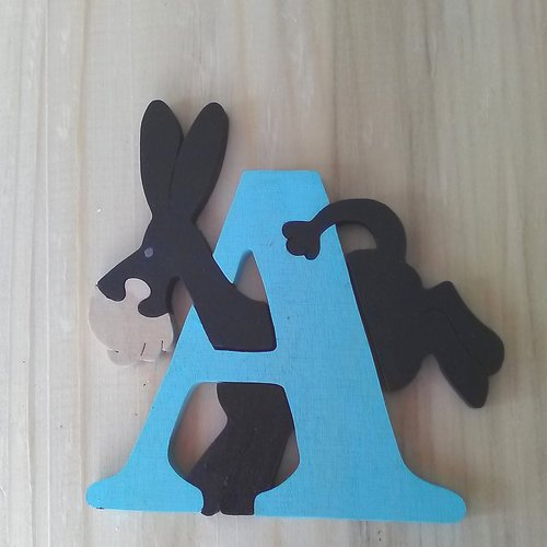 Lettre puzzle a - bleu, noir