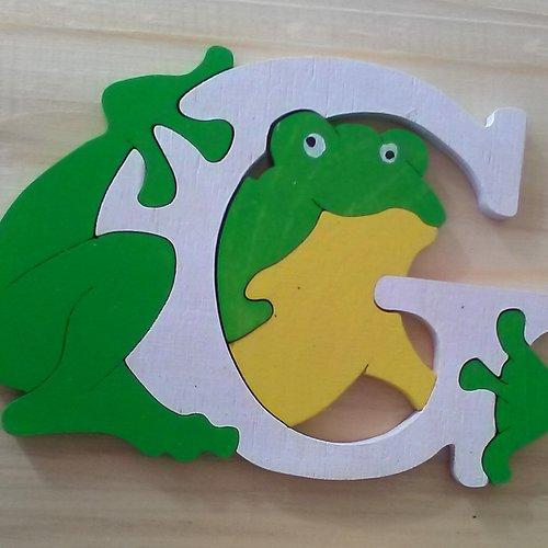 Lettre puzzle g - blanc, vert