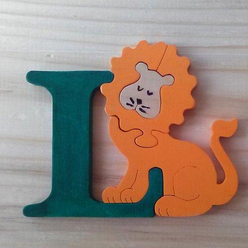 Lettre puzzle l - vert, orange