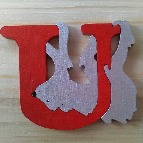 Lettre puzzle u - rouge, argent