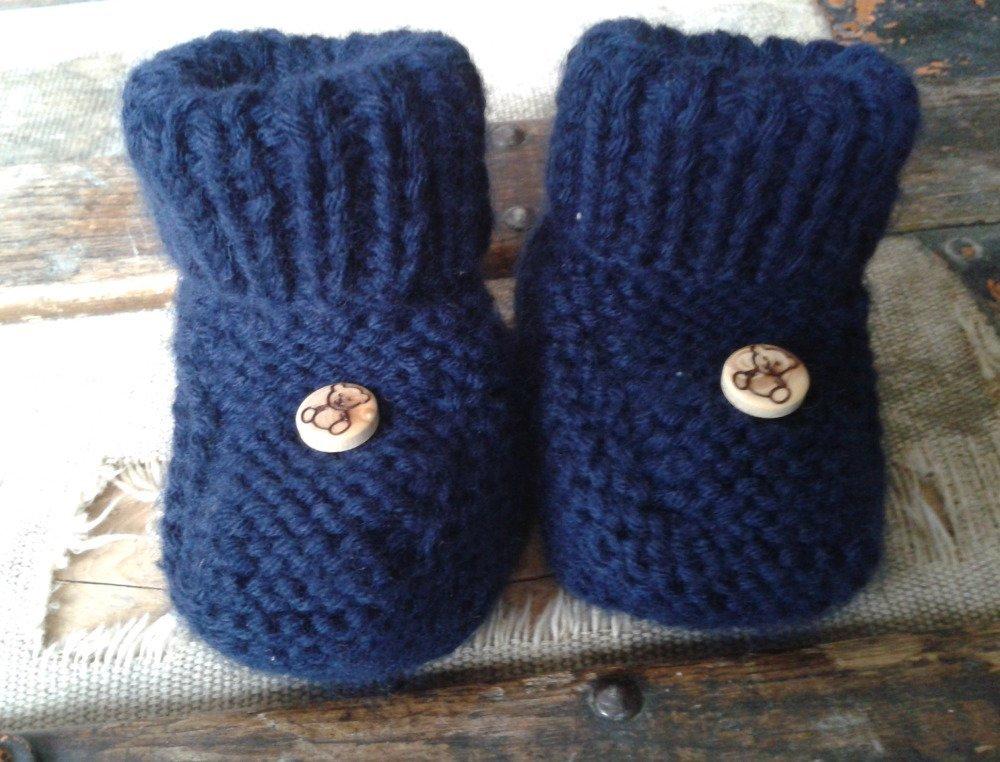 Gilet et ses chaussons bleu marine naissance