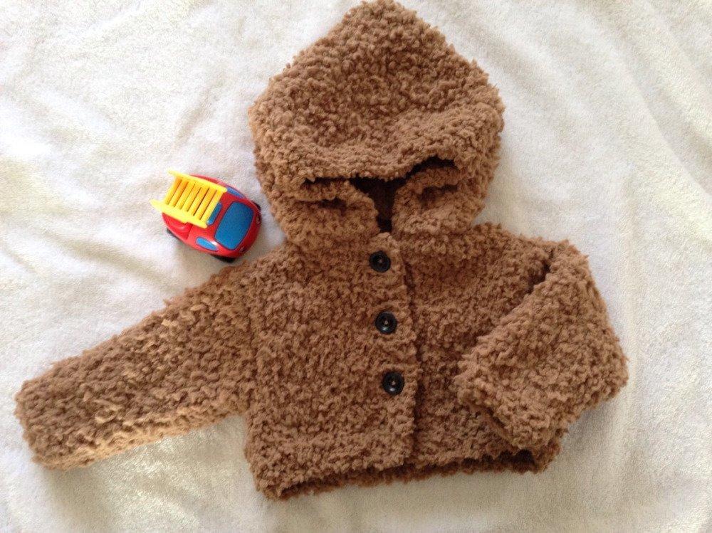 Veste marron à capuche taille 3/6mois