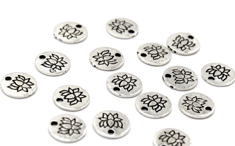 X20  breloques rondes fleur de lotus en alliage argent B48